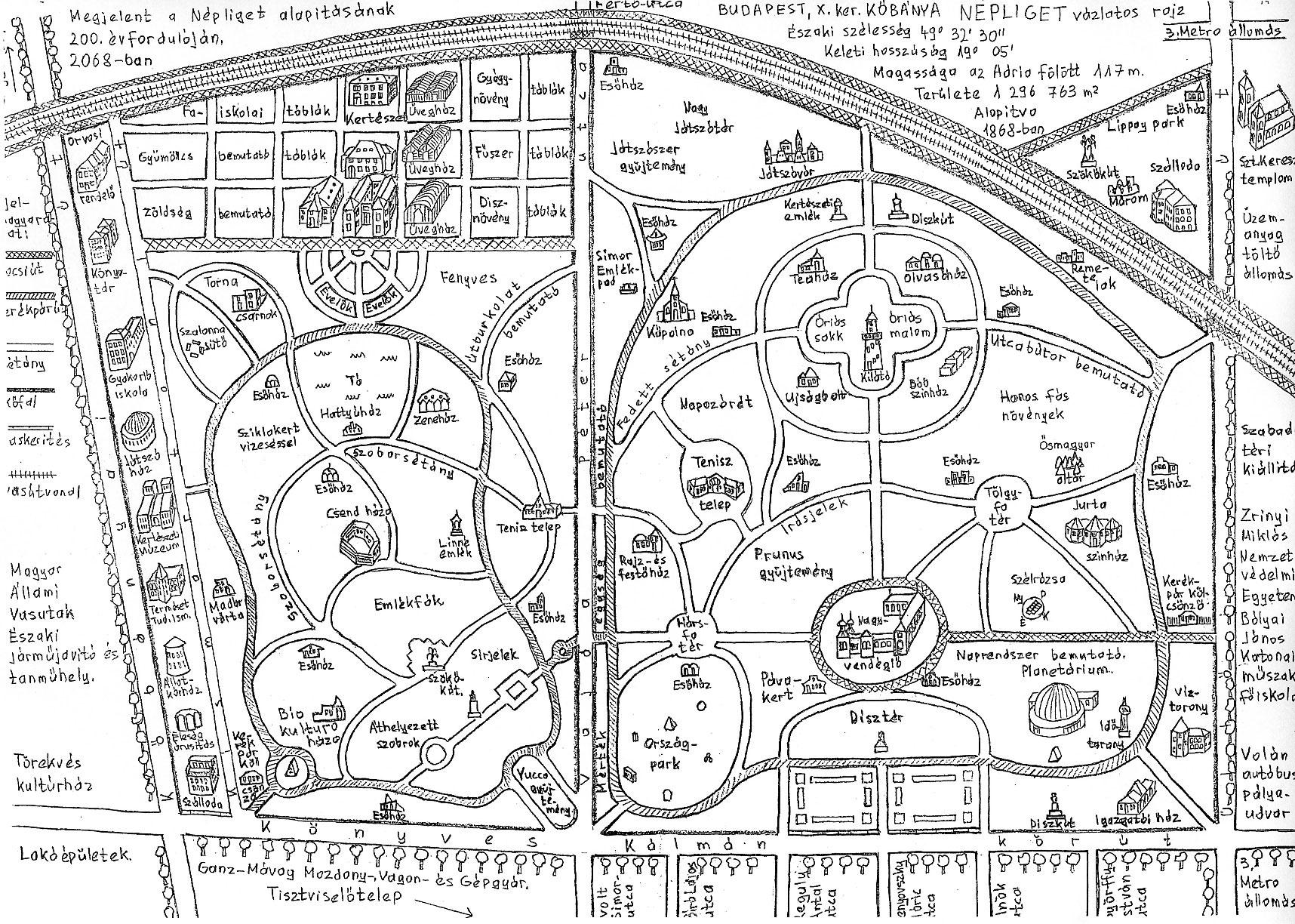 Pesti László kézzel rajzolt térkép-utópiája a 2068-ban 200 éves Népligetről >> nagy felbontásban