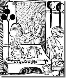 Középkori konyha tűzhellyel - egy augsburgi kiadványból