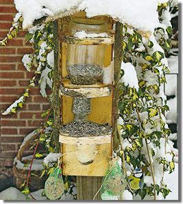 Házilagos nyírfa etető-siló