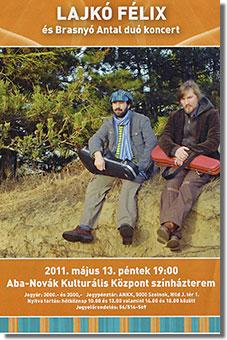 A 2011. májusi 13-i szolnoki Lajkó Félix és Brasnyó Antal duó-koncert plakátja